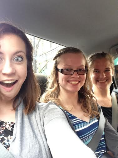 on our way to see a musical... in a taxi. no, it wasn't the cash cab. we were all very disappointed.
